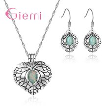 Vintage Real S90 Filled Good Selling Green Opal Stone Necklace Pendant Earrings Jewelry Sets For Women Ladies(China)