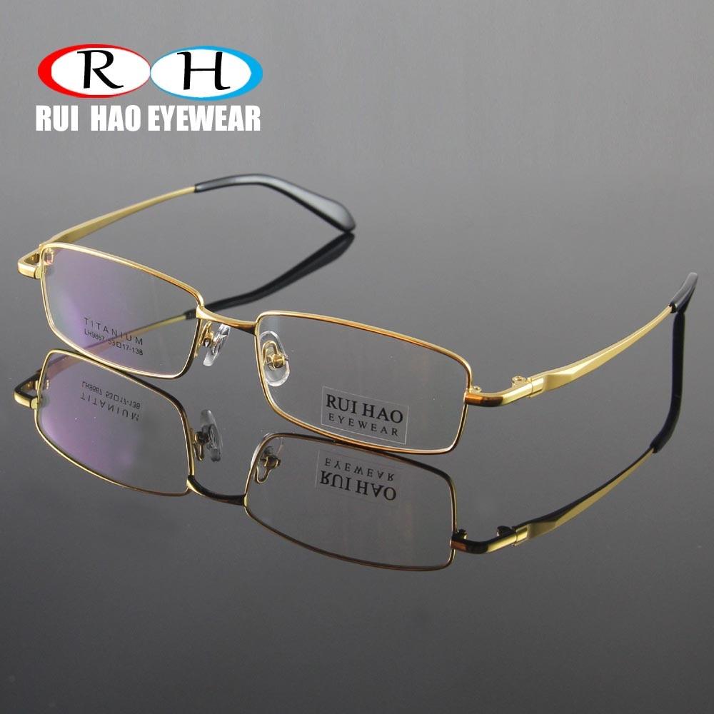 Neue Vollrand männer Brillen Reines Titan brille ...