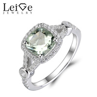 Leige Jewelry Natural Green Amethyst Ring Green Wedding Engagement Rings for Women 925 Sterling Silver Anniversary Gift