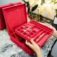M free shipping ring earring necklace jewelry storage box red fabric velvet ring bracelst jewelry display bin storage box C02 1