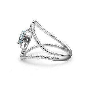 Image 3 - 宝石のバレエ 0.6Ct オーバル天然スカイブルートパーズ宝石女性のための指輪 925 スターリングシルバーファッションファインブレスレットジュエリー