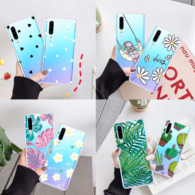 Silicone Clear TPU Pattern Cover Case For Huawei Honor 10 Lite 8X 20i 10i P20 Lite P30 Pro P Smart 2019 Love Heart Shell Capa
