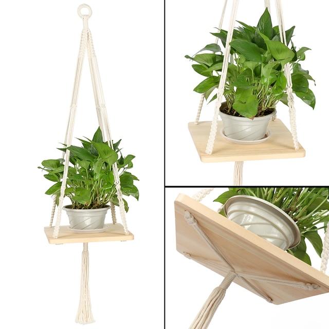 Macrame Shelf Planter Hanger For Modern Homes Decor Indoor Plants With Wooden Bohemian Hanging