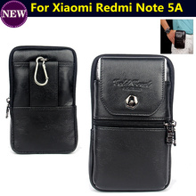 Cell Phone Case Genuine Leather Zipper Pouch Belt Clip Waist Purse Cover for Xiaomi Redmi Note 5A 5.5inch Bag Free Shipping