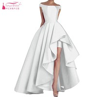Short Front Long Back Prom Dresses vestidos de fiesta largos elegantes de gala Boat Neck Formal Evening Gown DQG495