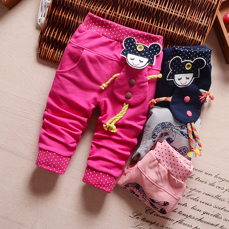 2017 New Cartoon Pants Brand Baby Cotton Embroider Pants Baby Trousers Kid Wear Baby Fashion Models Spring And Autumn 0-4 Years 2017 new jeans women spring pants high waist thin slim elastic waist pencil pants fashion denim trousers 3 color plus size