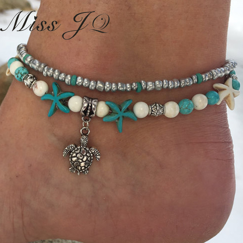 Miss JQ Vintage Design Starfish Turtle Anklets For Women Handmade Beaded Ankle Bracelet Foot Jewelry bracelet cheville femme