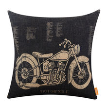 LINKWELL 45x45cm Vintage Black Motorcycle Patent Man Cave Throw Pillowcase Cushion Cover Creative Decoration for Sofa Car Covers