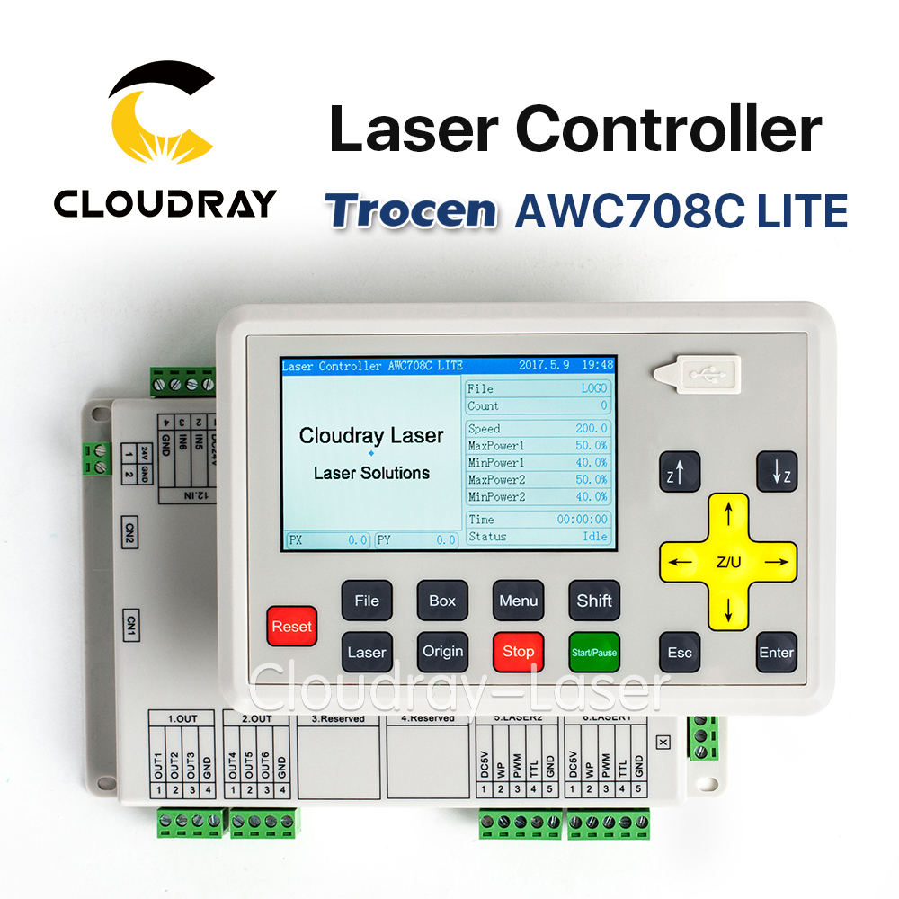 Cloudray Trocen Anywells AWC708C LITE Co2 Laser Controller System for Laser Engraving and Cutting Machine Replace AWC608C cloudray leetro operation panel pad04 e co2 laser controller system for laser engraving and cutting machine