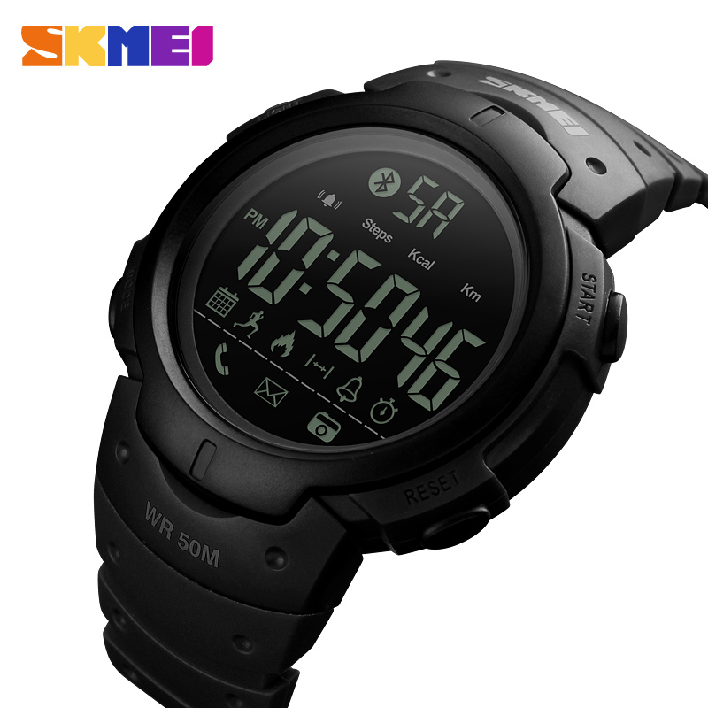 SKMEI Men Smart Sports Watch Calories Pedometer Digital Reminder Watches Fitness Bluetooth For Ios Android Wristwatches 1301 smart watch men women sports watches waterproof bluetooth smartwatch pedometer call reminder fitness track clock for android ios