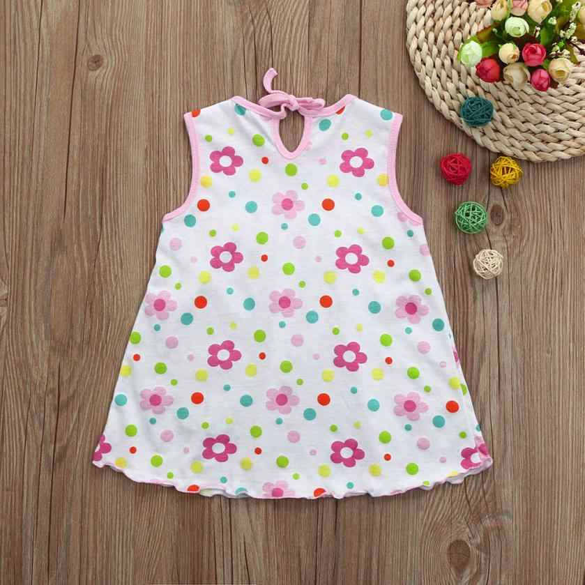 Girl Dress Toddler Cute Baby Cotton Flower Children Dot Striped Tees Dress T-Shirt Vest Dress Elegant Princess Dress 15