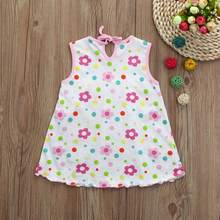 Girl Dress Toddler Cute Baby Cotton Flower Children Dot Striped Tees Dress T-Shirt Vest Dress Elegant Princess Dress 15(China)