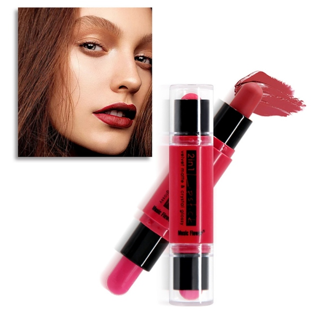 Lápiz labial mate impermeable terciopelo lápiz labial 12 colores Sexy rojo marrón pigmentos maquillaje mate labios belleza labios 2019
