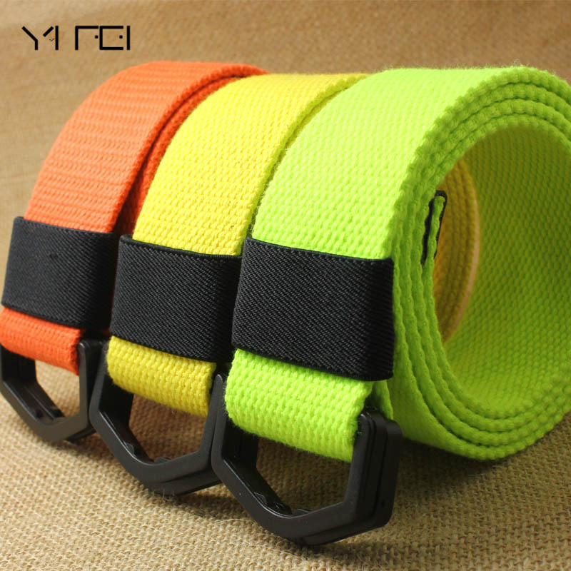 YIFEI Casual D Ring buckle Plain Canvas   Belt   anti allergy Waistband Fashion Unisex Fabric Webbing Waist   BELT