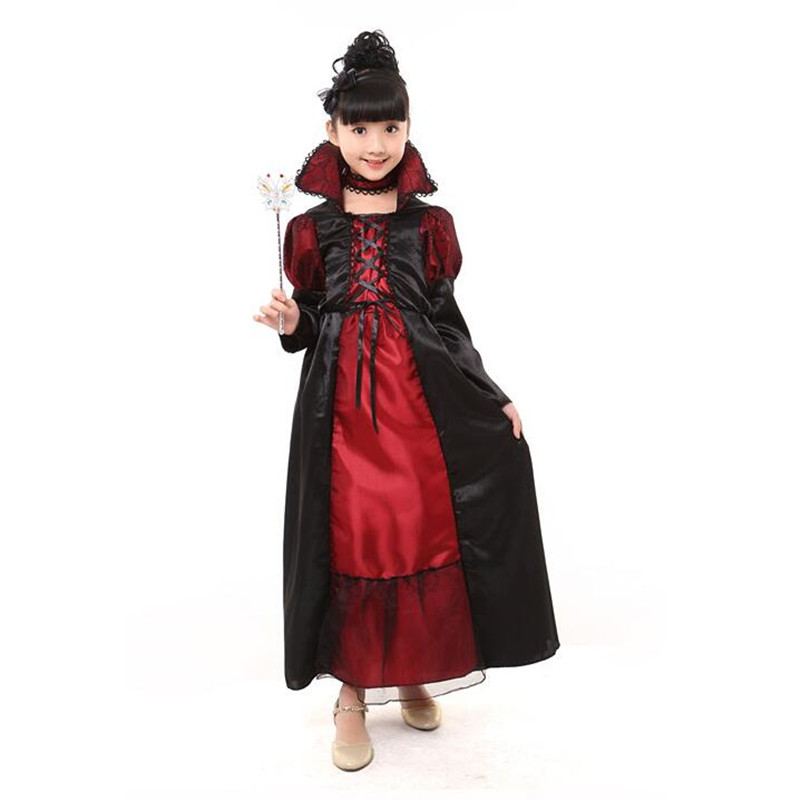 halloween costumes vampire princess costume kids black lace party dress performance fancy dress necklace set boy couple clothing - Halloween Costumes Vampire For Girls
