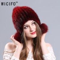 Winter Autumn 100% Real Mink Fur Women Skullies Beanies Ear Cap Knit knitted Caps Elasticity Bonnet Hat RussianThick Girls Cap