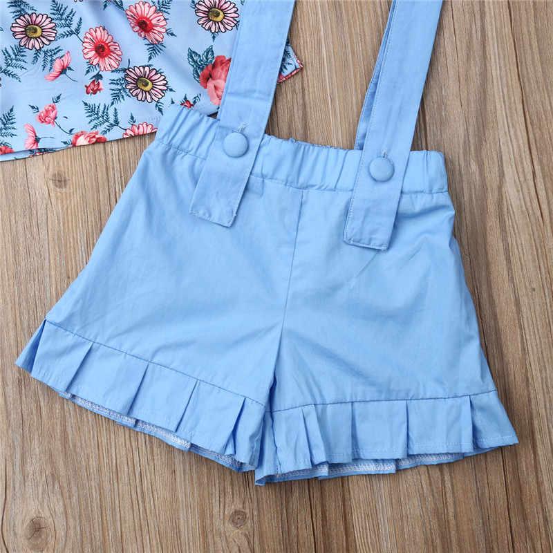 Mode 2 pièces enfants bébé filles vêtements Floral hors épaule hauts + bretelles Shorts tenue infantile bébé vêtements d'été ensembles 1 à 6Y