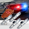 DC 12V White Amber Red Blue 12LED DRL Car External Strobe Lights Wireless Remote Flash Grille