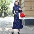 2015 casaco Islâmico vestuário Muçulmano para as mulheres de lã longo casaco quente outwear roupas meninas elegância djellaba