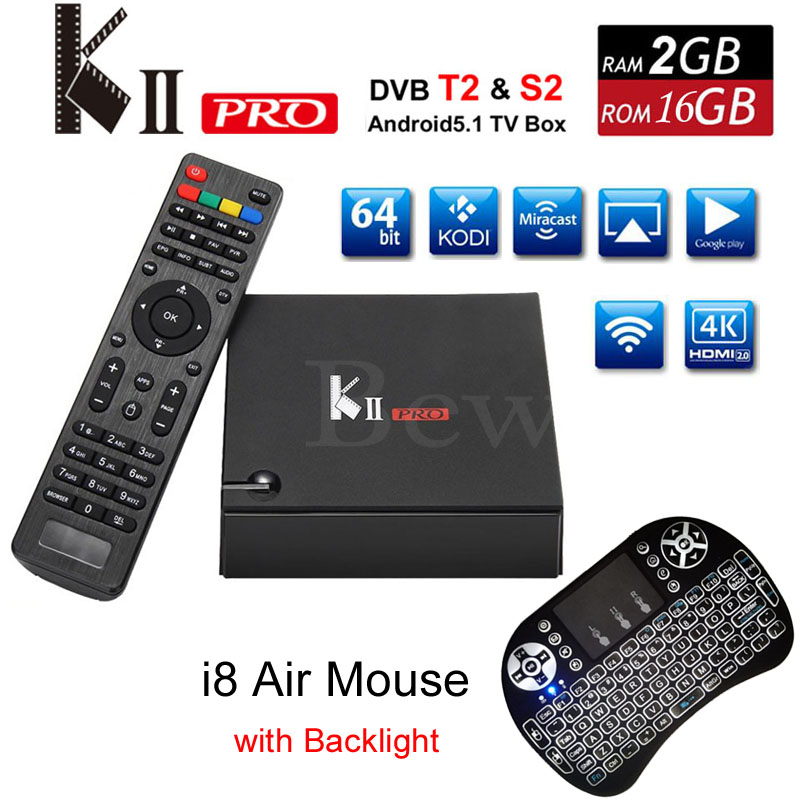 KII Pro Android TV Box 2GB 16GB DVB-S2 DVB-T2 Amlogic S905 Quad Core Wifi Bluetooth KODI Media Player 4K DVBT2 TVbox VS A95X X96 original m8s android tv box amlogic s812 quad core gpu mali450 2g 8g kodi xbmc media player 2 4g 5g wifi with air mouse keyboard