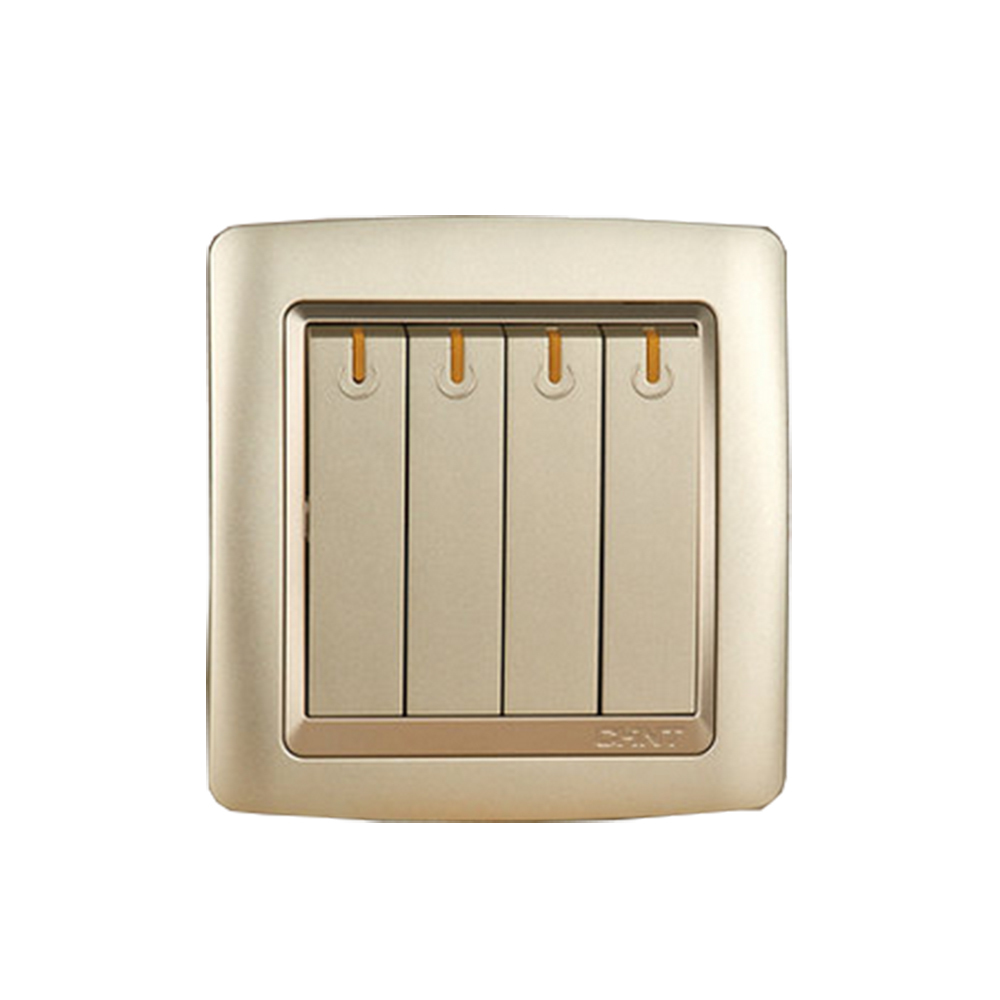 CHINT NEW2K Series Wall Switch Socket Light Champagne Gold Four Gang One Way