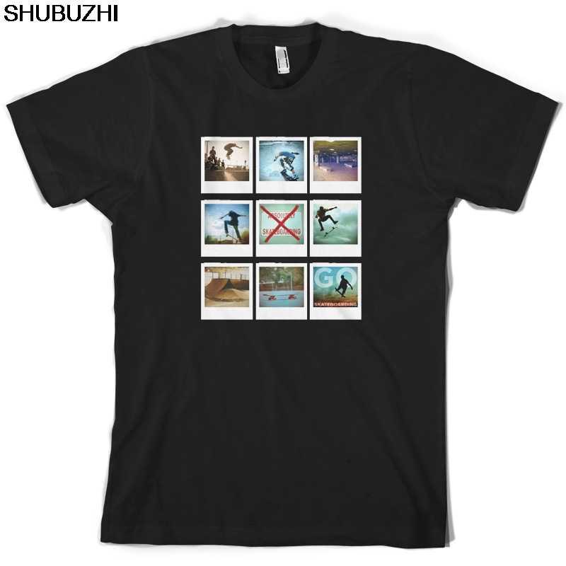 Ir Photo Collage-T-Shirt Dos Homens de Skate-Skate-Skater-shubuzhi Dos Desenhos Animados t shirt homens Unisex Moda de Nova