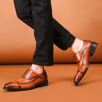 FELIX CHU European Casual Oxford Shoe For Men Cow Genuine Leather Hand Made Breathable Tan Brown