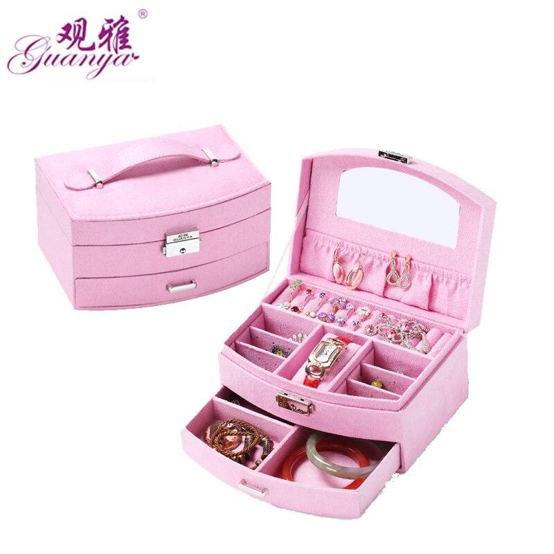 Guanya nuevo diseño cajas de joyas y embalaje terciopelo Pendientes de broche colección creativa exhibición de la joyería caja de regalo de joyería