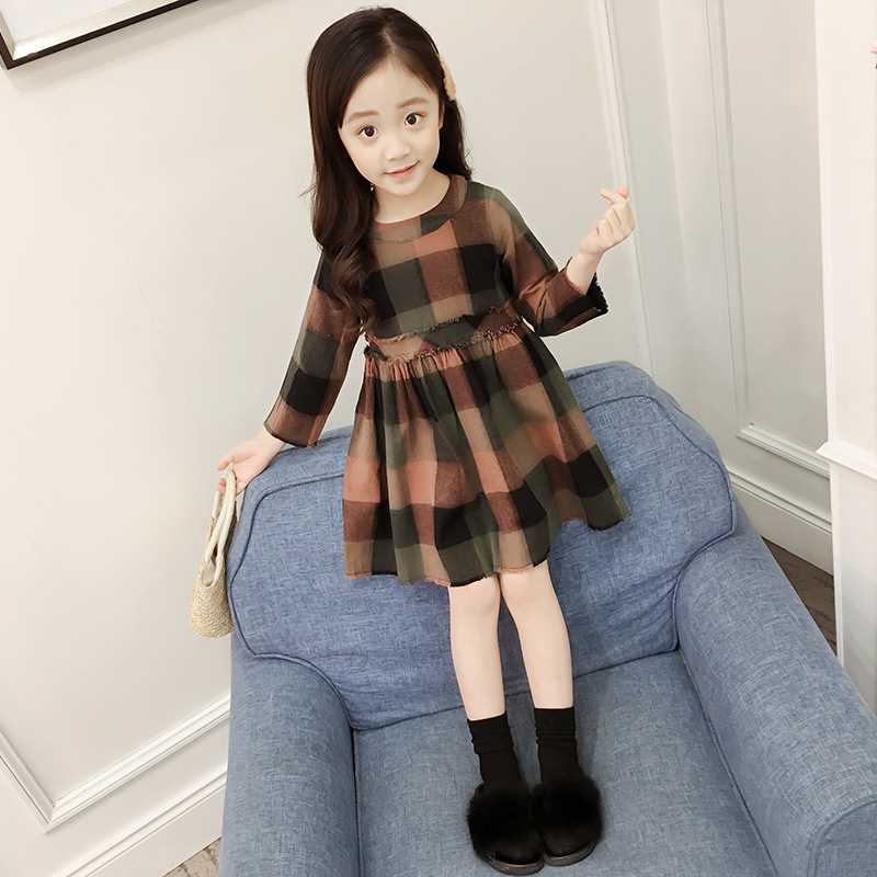 Cute Toddler Kids Girls Dress 2017 Spring Autumn Winter Long Sleeve Warm Cute Plaid Children Dresses Casual Cotton Dress