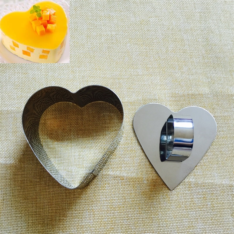 1pc Heart Shaped Mousse Ring Bakeware <font><b>Stainless</b></font> <font><b>Steel</b></font> Cake <font><b>Mold</b></font> Mould Baking <font><b>Cheese</b></font> Pudding <font><b>Molds</b></font> image