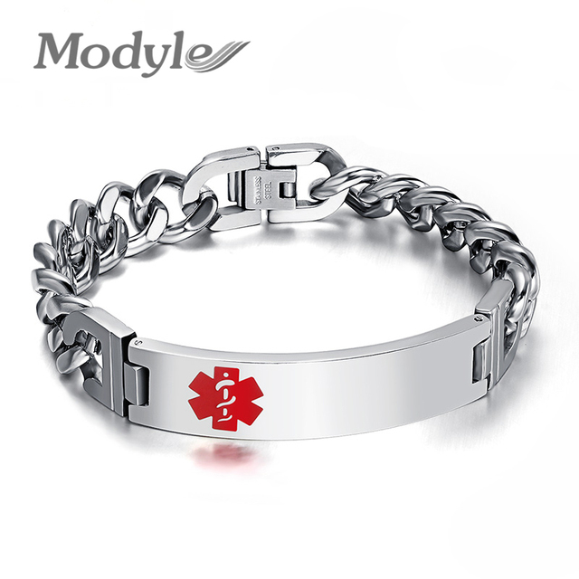 Modyle Fashion Medical Bracelet For Men Jewelry High Quality Stainless Steel Bracelets Bangles Two Size