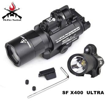Element Airsoft Surefir X400 Ultra Flashlight Red Laser 20mm Picatinny Weaver Rail Mount 450 lumen X400U Tactical Gun Light
