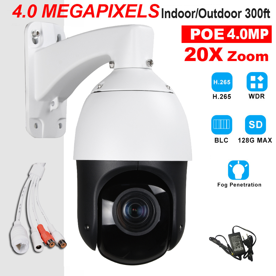 CCTV H.265 4MP High Speed Dome POE IP PTZ camera 4 Megapixels H.264 20X ZOOM ONVIF Protocol MINI SIZE IP66 Waterproof Full metal 4 in 1 ir high speed dome camera ahd tvi cvi cvbs 1080p output ir night vision 150m ptz dome camera with wiper