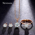 NEWBARK Forever Love Jewelry Sets Classic 6 Prongs Earrings For Women Sparkling Necklace Round Ring Wedding Parure Bijoux Femme