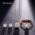 Newbark para sempre o amor brincos para as mulheres conjuntos de jóias clássico 6 pontas espumante colar redonda anel de casamento parure bijoux femme