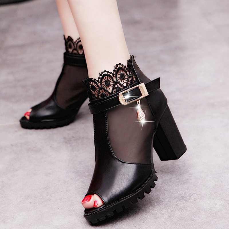 2019 summer sexy fish mouth hollow Roman sandals thick with a word with high heels female summer Sexy female sandals CZ-702019 summer sexy fish mouth hollow Roman sandals thick with a word with high heels female summer Sexy female sandals CZ-70