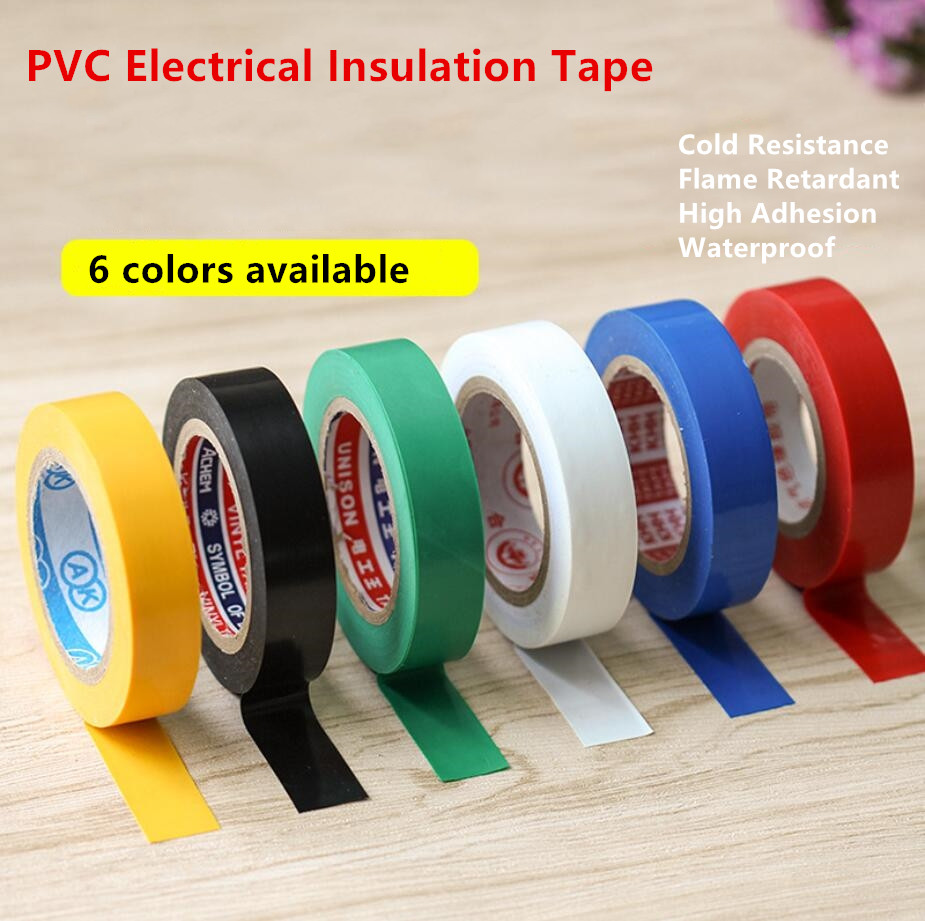 5/8'' (16mm) Width PVC Electrical Insulation Tape Self-Adhesive Waterproof High Viscosity Yellow Black Green White Blue Red Tape