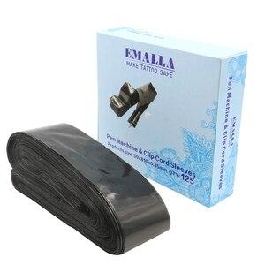 Image 5 - EMALLA 125Pcs קעקוע מכונת עט & קליפ כבל שרוולי שקיות אספקת שחור חד פעמי עטיפות שקיות קעקוע מכונת & קליפ כבל