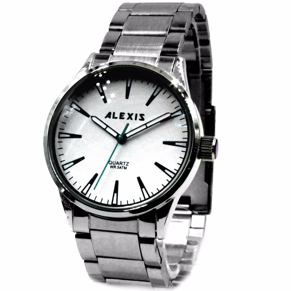 Alexis Men Analog Quartz Round Wrist Watch Japan Miyota Movement Matt Silver Stainless Steel Band White Dial Water Resistant relojes full stainless steel men s sprot watch black and white face vx42 movement