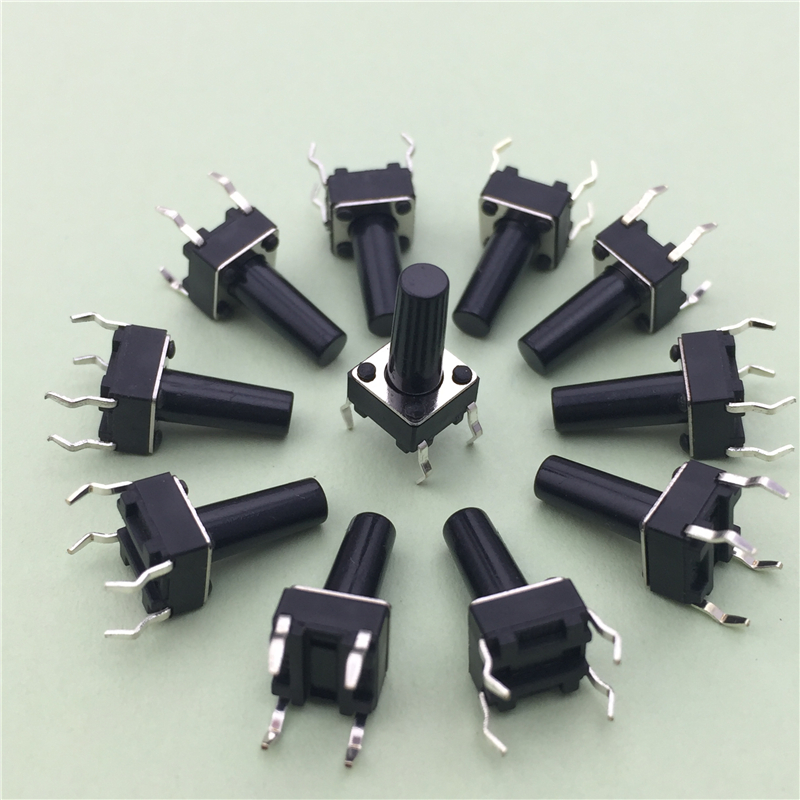цена 50pcs/lot 6x6x12MM 4PIN G95 Tactile Tact Push Button Micro Switch Direct Self-Reset DIP Top Copper Russia