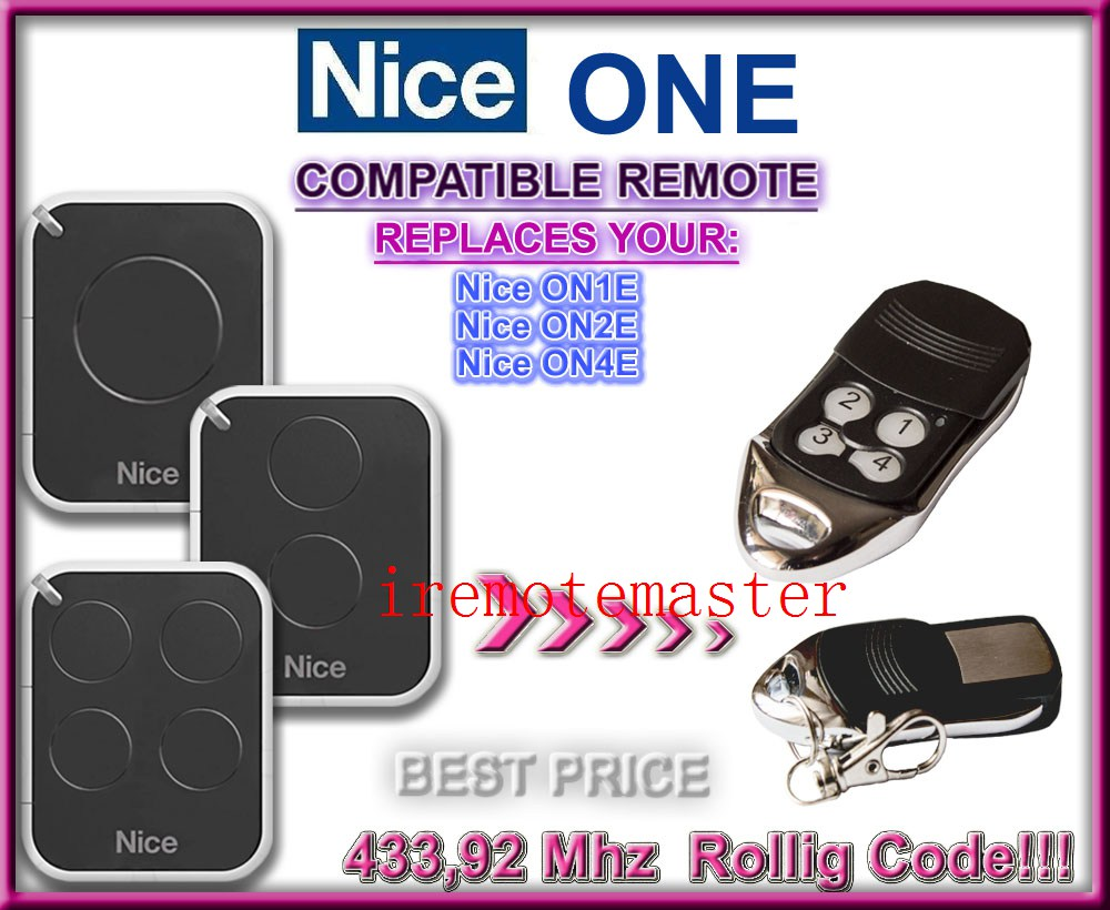 Nice ON1E,ON2E,ON4E replacement remote control 433,92MHZ Rolling code top quality v2 replacement remote control transmitter 433mhz rolling code top quality