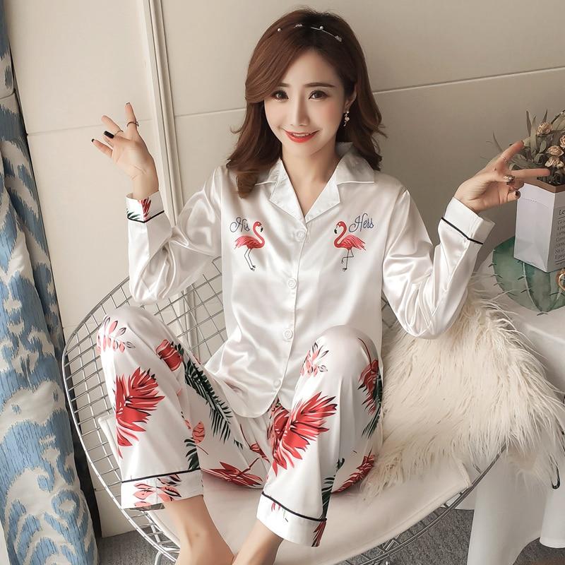 Autumn Winter 2018 WAVMIT New Women Pyjamas Silk Long Tops Set Female Pajamas Set NightSuit Sleepwear Sets Long Pant Women Night