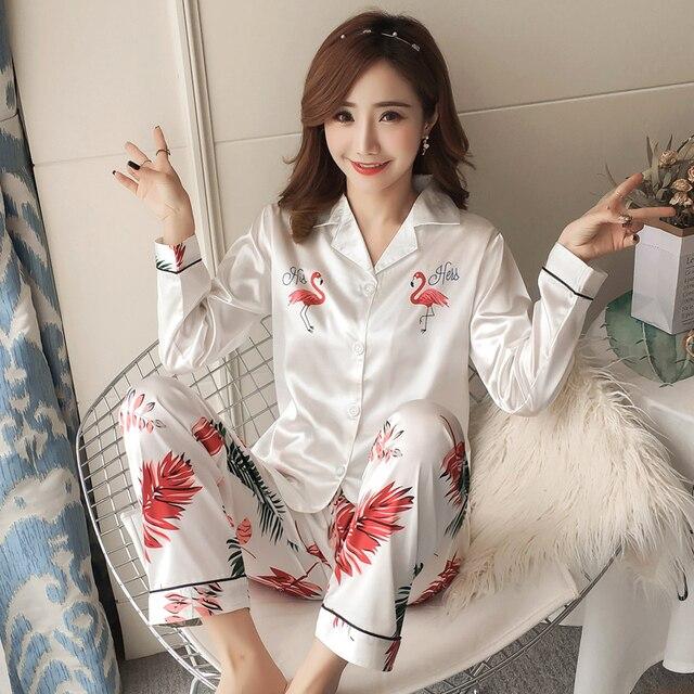 ab18508cf9 Autumn Winter 2018 WAVMIT New Women Pyjamas Silk Long Tops Set Female  Pajamas Set NightSuit Sleepwear
