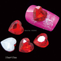 P11  10pcs/lot  Red Bottom Heart Glass DIY Nails Decorations 3D Glitters Diamond Jewelry Nail Tips