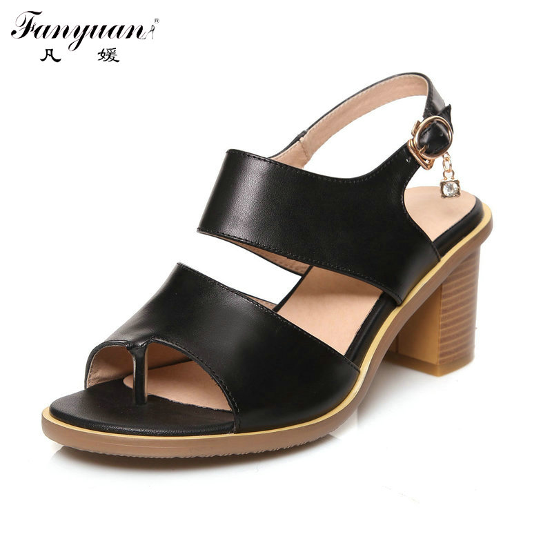 ФОТО Hot Sandals Women Summer Fashion Solid Shoes Back Strap 2017 Med Chunky Heels Ladies Ankle Wrap Gladiator Sandals Big Size 33-43