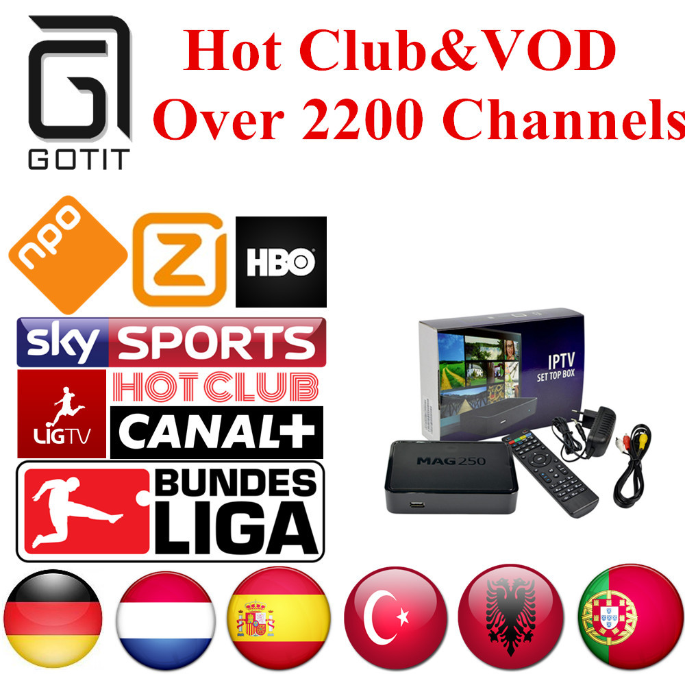 Mag250 Linux IPTV BOX German IPTV 2200+ Channels Netherlands Turkish Spain Portaguese Albanian IPTV Adult Hot Club&VOD
