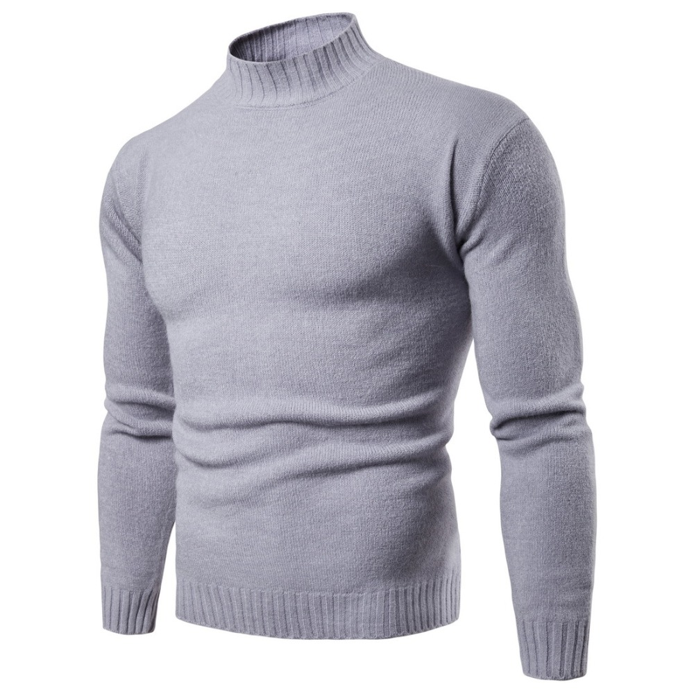 Dropshipping Mens Sweaters 2018 Winter Solid Color Turtleneck Sweater Men Clothing Brand Knitted Pullover Men Sweater Pull Homme