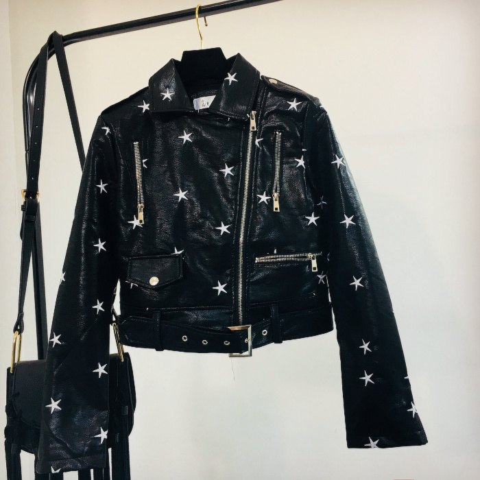Pentagram Star Embroidered Pu   Leather   Jacket Women Spring and Autumn New Fashion Locomotive   Leather   Jackets Students Short Coats