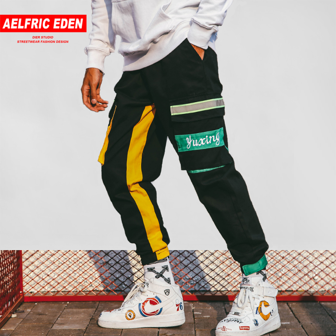 Adroit Aelfric Color Patchwork Mens Harem Pants Streetwear 2018 Reflective Stripes Fashion Hip Hop Casual Trousers Male Joggers Ye28 Delaying Senility