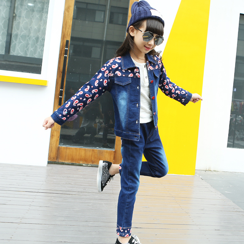 Spring Autumn Children Clothing Sets Girls Jeans Slim Fit Waterdrop Print Jeans Set Female Girl Long-Sleeved Jacket + Jeans Suit 2016 spring new girls sets long sleeved denim jacket with striped lace dress two piece nice quality children clothing set a396